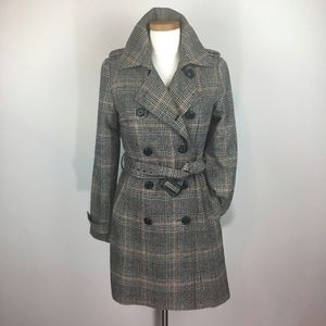 BB DAKOTA PLAID DOUBLE BREASTED TRENCH COAT SZ M